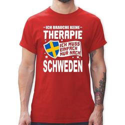 Shirtracer T-Shirt Ich brauche keine Therapie Ich muss einfach nur nach Schweden - weiß - Herren Premium T-Shirt L