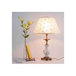 Licht-Erlebnisse Tischleuchte ROSE Tischlampe aus Messing bronziert Weiß Jugendstil E27 Stoff bestickt