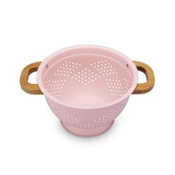 Navaris Seiher, Metall, Sieb Durchschlag aus Eisen - Nudelsieb Küchensieb Abtropfsieb für Nudeln Salat - Salatsieb Metallsieb mit Bambusgriffen rosa