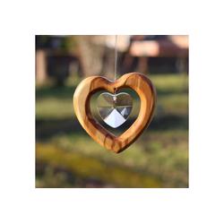 mitienda Fensterdekoration Fensterdeko Herz aus Holz, Herz mit Bleikristall