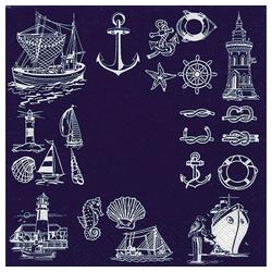 Linoows Papierserviette 20 Servietten Weiße Maritime Symbole mit Boote, Motiv Weiße Maritime Symbole mit Boote Anker