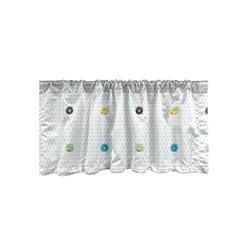 Scheibengardine Vorhang Volant für Küche Schlafzimmer Dekor mit Stangentasche, Abakuhaus, Krapfen Tupfen Zuckerglasur Gebäck 137 cm x 30 cm