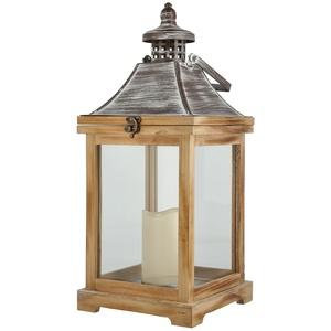 Holzlaterne mit LED-Kerze ¦ holzfarben ¦ Kunststoff, Glas , Holz, Metall ¦ Maße (cm): B: 20 H: 46 T: 20