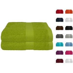 2er Pack Frottier Saunatuch, Saunatücher Set 80x200 cm 100% Baumwolle in 15 modernen Farben Apfelgrün