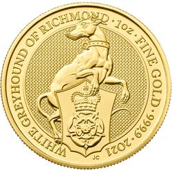 1 Unze Gold The Queen´s Beasts - White Greyhound of Richmond