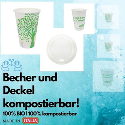 Bio Einwegbecher Pappbecher Kaffeebecher Coffee to Go - 100% kompostierbar 237ml - 50er Pack