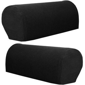 Hanhan Paar Sofa-Armlehnenschoner, Premium-Fleece, rutschfeste Armlehnenbezüge, elastische Armlehnenschoner für Sessel und Sofa (schwarz)