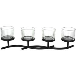 Kerzenhalter für 4 Kerzen - Teelichthalter - Adventskranz Alternative - Metall 50 cm XXL