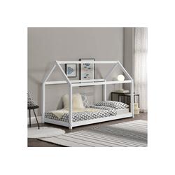 en.casa Kinderbett, Kinderbett 90x200cm Haus Holz Weiß Bettenhaus Hausbett Kinder Bett