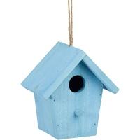 Relaxdays Deko Vogelhaus bunt, aus Holz, Kleines Vogelhäuschen, Frühlingsdeko zum Aufhängen, HBT: ca. 16 x 15 x 11 cm, blau