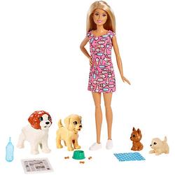 Barbie Hundesitterin Puppe (blond) mit Welpen, Anziehpuppe, Barbie Hund