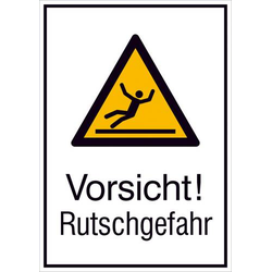 Warn-Kombischild Vorsicht! Rutschgefahr Aluminium (B x H) 262mm x 371mm ISO 7010 1St.