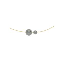 Heideman Kette mit Anhänger Perlenkette goldfarbend, Brautschmuck mit Perlen grau