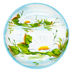 Lashuma Obstschale Seerose, Keramik, Flache Servierschüssel, Keramikschale rund Ø 28 cm