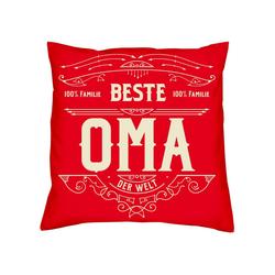Soreso® Dekokissen Kissen Beste Oma & Urkunde, Geschenk Geburtstagsgeschenk rot