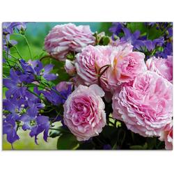 Artland Glasbild Rosen und Glockenblumen, Blumen (1 Stück) 80 cm x 60 cm