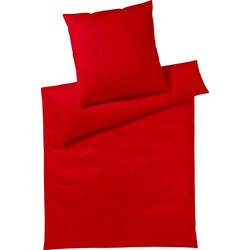 Bettwäsche Pure & Simple Uni, Yes for Bed, aus hochwertigem Mako-Satin rot 1 St. x 200 cm x 200 cm