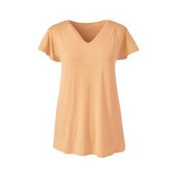 Shirt mit Smok, Damen, Größe: XS Normal, Orange, Viskose, by Lands' End, Aprikoseneis - XS - Aprikoseneis