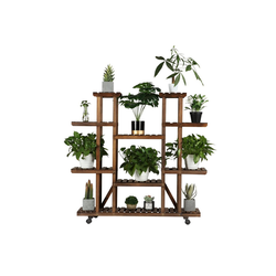 Yaheetech Blumenständer, Blumenregal Holz 6 Ebenen Blumenbank mit Rädern für Balkon Wohzimmer Outdoor Garten