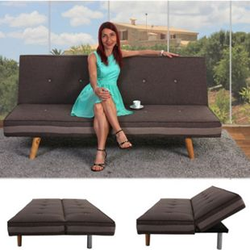 3er-Sofa Ninove, Couch Schlafsofa Gästebett Bettsofa ~ Textil, braun