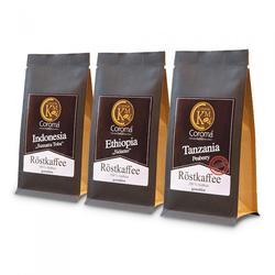 "Gemahlener Kaffee Set Coroma Kaffeemanufaktur ""Sumatra Toba, Sidamo & Peaberry"", 3 x 100 g"