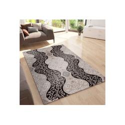 Teppich Teppich Wohnzimmer Teppich mit Glitzer Abstrakt USED Optik in Braun, Vimoda 120 cm x 170 cm