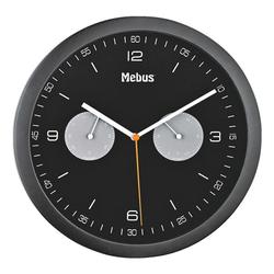 Quarz-Wanduhr mit Hygro- und Thermometer 16000 Ø 26,5 cm, Mebus