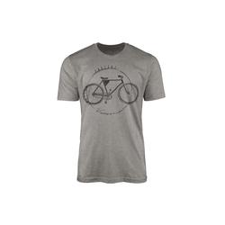Sinus Art T-Shirt Vintage Herren T-Shirt Fahrrad grau L