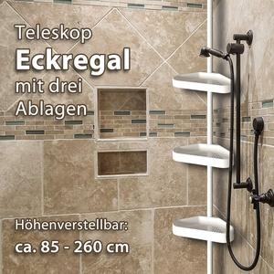 GK Teleskopregal Eckregal mit 3 Ablagen Badregal Ecke Duschecke Duschregal Regal