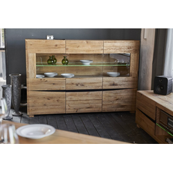 KAWOLA Kommode YOSHA, Highboard 3 Türen mit LED Eiche