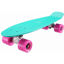 STAR-SKATEBOARDS Vintage Retro Cruiser Skateboard Türkis & Berry