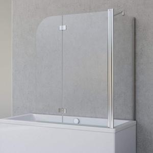 Schulte Badewannenfaltwand Angle, 2-teilig 112 x 142 cm mit Seitenwand für 80 cm Badewanne, 5 mm Sicherheitsglas (ESG) Klar hell, Chromoptik, D693477204 41 50
