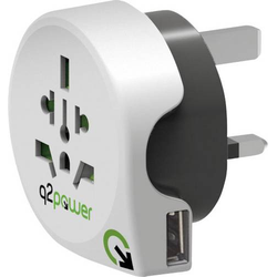 Q2 Power 1.100130 Reiseadapter World to Great Britain with USB