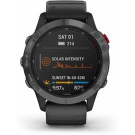 Garmin fenix 6 Pro Solar schiefergrau mit schwarzem Armband