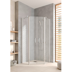 Kermi Pega Fünfeck-Duschkabine PEF5010018VPK 100x100x185cm, silber hochglanz, ESG klar Clean