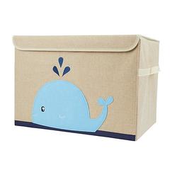 Aufbewahrungsbox mit Deckel Kinder Spielzeugkiste 65 L faltbar Staubox Stoffbox Aufbewahrungsboxen blau
