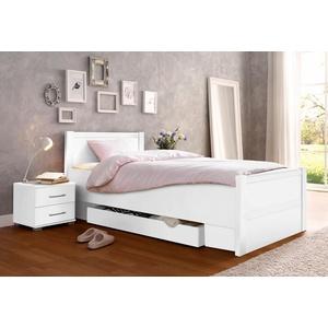 Bett, mit Komforthöhe weiß ohne Matratze, mit Schubkästen