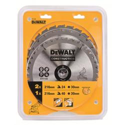 DeWalt DT 1124 Bau-Kreissägeblatt-Set für Stationärsägen 3er Pack