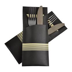 Pochetto Bestecktaschen 200x85mm schwarz champagner Streifen Serviette, 520 Stk.