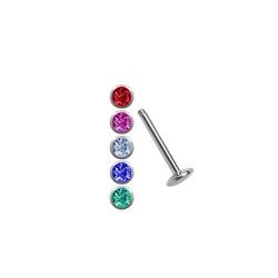 Adelia´s Nasenpiercing Labret Stecker Titan Piercing Set Stud mit 5 Stein Kugeln, Titan Piercing Labret Stecker im Set