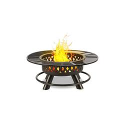 blumfeldt Feuerschale Rosario 3-in-1-Feuerschale Ø120cm 70cm Grill Tischplatte Stahl, Dreifach Praktisch: Feuerschale, Schwenkgrill und Tisch in einem