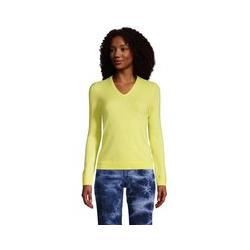 Kaschmir-Pullover mit V-Ausschnitt, Damen, Größe: L Normal, Gelb, by Lands' End, Gelb Zitrone - L - Gelb Zitrone