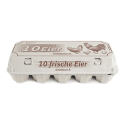 Eierverpackung für 10 Eier weiß mit Aufdruck `10 frische Eier`, 154 Stk.