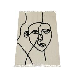 Wohndecke Boho Wohndecke, Wanddeko Face, Tagesdecke, Überwurf, creme-schwarz, Sofa Couch Überwurf, 130 x170 cm, HD Collection