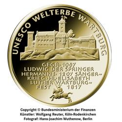 1/2 Unze Gold 100 Euro Deutschland 2011 UNESCO Welterbe - Wartburg