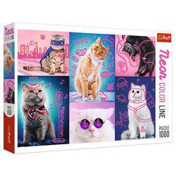 Trefl Puzzle Trefl 10581 Super Katzen 1000 Teile Neon Puzzle, 1000 Puzzleteile
