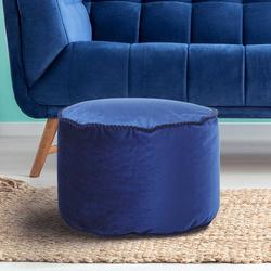 Samt Pouf in Blau Orientalischen Design