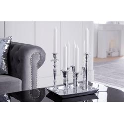 riess-ambiente Kerzenständer KERZENSTÄNDER 26cm silber (1 Stück), Metall · Kerzenhalter · Deko · Barock-Design silberfarben
