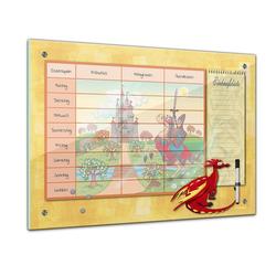 Bilderdepot24 Glasbild, Memoboard - Essensplaner für Kinder - Drache mit Ritterburg - quer 60 cm x 40 cm