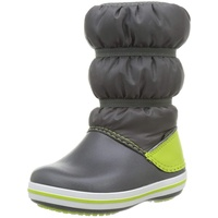 Crocs Unisex-Kinder Crocband Winter Boot Kids Schneestiefel, Slate Grey/ Lime Punch, 28/29